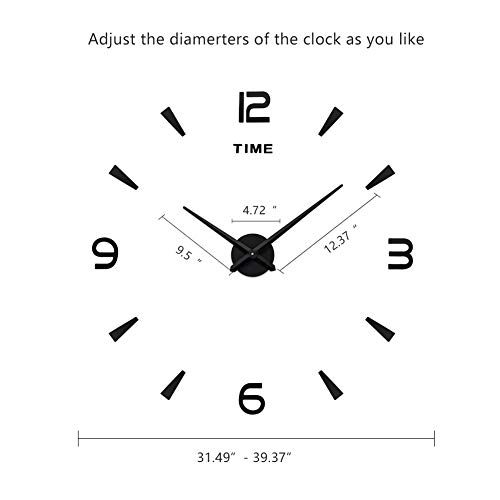Dorlotou Wall Clock Large DIY Frameless Mirror Surface Clock with Mirror Number Stickers for Home Living Room Bedroom Office Decorations Gift,Black