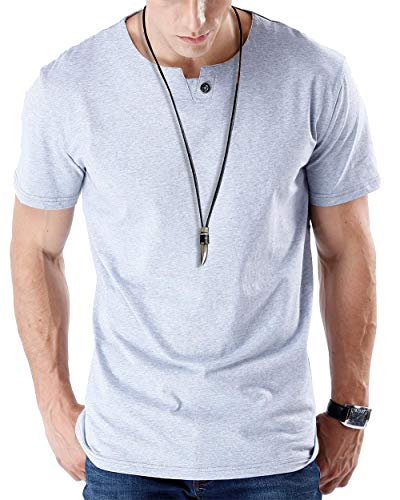 JNC 100% Cotton Mens Summer Casual Button Slim Fit Pure Color Short Sleeve Henley T-Shirts (Large, Grey) ()