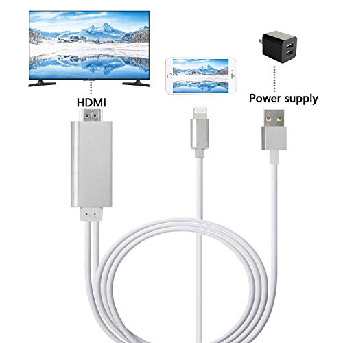 ZFKJERS Phone to HDMI Cable, Mirroring Phone Screen to TV/Projector/Monitor Adapter Cable, 1080P Digital AV Adapter, Compatible with iOS Devices (Silver) ()