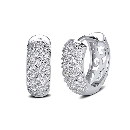 Trendy Zircon Pave Setting Stud Earrings Hollow Design Pattern Wedding Woman Gold Color Earring Dde22