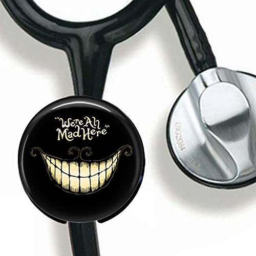 - We're All mad here Stethoscope Tag Personalized,Nurse Doctor Stethoscope ID Tag Customized, Medical Stethoscope Name Tag with Writable Surface-Black