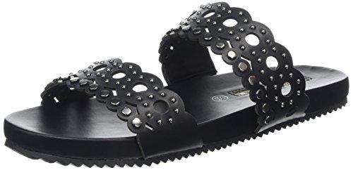 Schwarz Buffalo Donna Leather Black133 15bu0177 Nero Pu Sandali rqxqYwRU