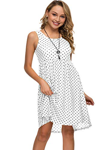 Womens Midi Dress 3/4 Sleeve Polka Dot O Neck Casual Tunic Pleated Loose Vintage Retro Swing Dresses with Pockets (XL, White dot) ()