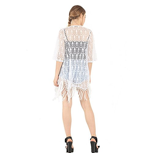 Laixing Buena Calidad Hollow Lace Crochet Tassels Fringed Blouse Jacket Top 9028 White