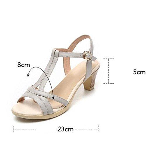 QL@YC Damen Sandalen Im Sommer Mit Dicken Leder Leder Weichen Rock Bequemen GroßEn GrößE 2017 Damenschuhe , white , 35