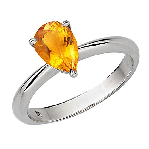 14K Gold 8X6mm Pear Cut Citrine Ladies Solitaire Bridal Engagement Ring