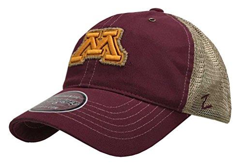 (Zephyr Hats University of Minnesota M Tatter Hat NCAA College Ball Cap Mesh Maroon)