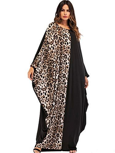 Yuntown Farasha Kaftan Dress Women - Islamic Dubai Jilbab Crew Arab Loose Fit