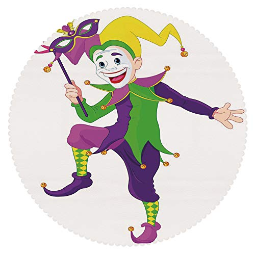Stylish Round Tablecloth [ Mardi Gras,Cartoon Style Jester in Iconic Costume with Mask Happy Dancing Party Figure,Multicolor ] Decorative Tablecloth Ideas