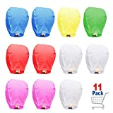Colorful Chinese Lanterns - Paper Flying Sky Lanterns - 100% Biodegradable Paper Lanterns Multicolor Assortment for Birthdays, Parties, New Years, Memorial Ceremonies, and More – 11 Pack