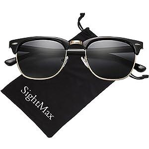 SightMax Polarized Retro Classic Half Frame Semi-Rimless Border Sunglasses (Bright Black Frame/Black Lens, 50MM)