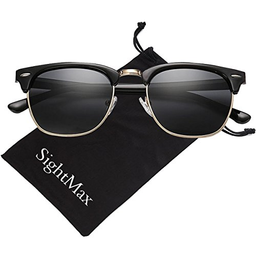 SightMax Polarized Retro Classic Half Frame Semi-Rimless Border Sunglasses (Dumb Black Frame/Black Lens, - Sunglasses Dumb