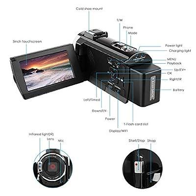 Video Camera Camcorder, Regemoudal 1080P 4k 128GB 48MP 3 Inch WiFi Digital Video Camera Camcorder,Capactive Touchscreen IR Infrared Night Vision 16X Digital Zoom Recorder