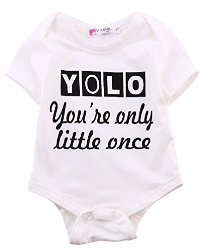 Ma&Baby Infant Baby Boy Girls Bodysuit Cotton Romper White Clothes Outfits (6-12 Months)