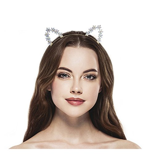Tone Crystal AB Gemstone Flower Floral Cat Ear Headband (Ab Gemstone)