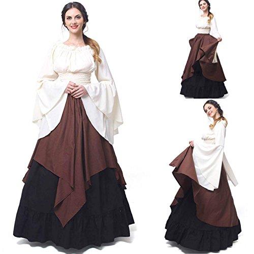 Renaissance Fancy Dress (Women's Renaissance Medieval Gothic Victorian Dress Halloween Cosplay Costume Vintage Floor Length Retro Long Dress (2XL, COFFEE))