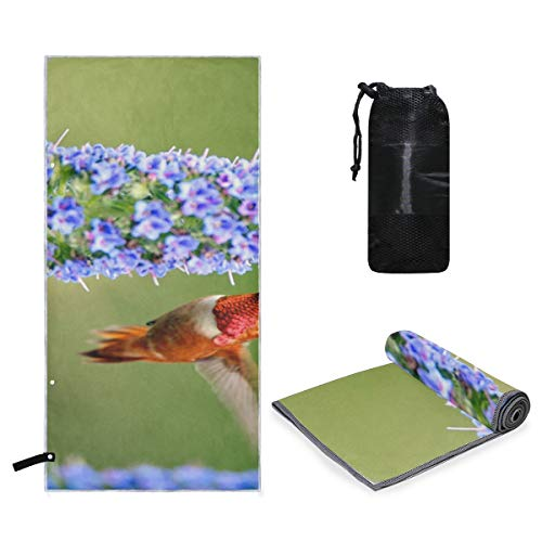 Rachel Dora Microfiber Beach Extra Large Towel Humming Bird Quick Dry, Travel, Camping, Gym, Pool, Swimmers Towels Compact, Lightweight, Sand-Free with Easy Pack Carry Bag