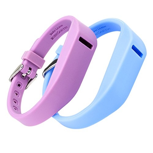 WITHit Fitbit Flex Wristbands, Replacement Bands with Chrome Watch Clasp, Color, Accessory Bands, Marine Blue & Radiant Orchid, 2 (Orchid Band)