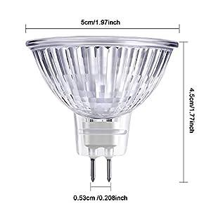 8 Pieces Halogen Light Bulbs MR16 12V FTD Halogen Spotlight Bulbs, GU5.3 Bi-Pin Base, Glass Cover, Warm White 2700K Dimmable Precision Halogen Reflector Fiber Optic Light Bulb (20W)