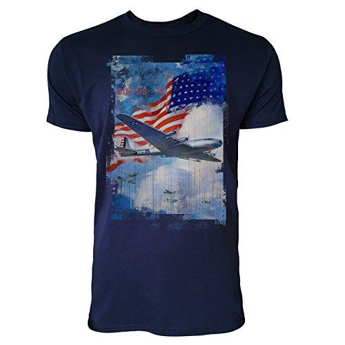 SINUS ART® American Air Force Herren T-Shirts stilvolles dunkelblaues Navy Fun Shirt mit tollen Aufdruck
