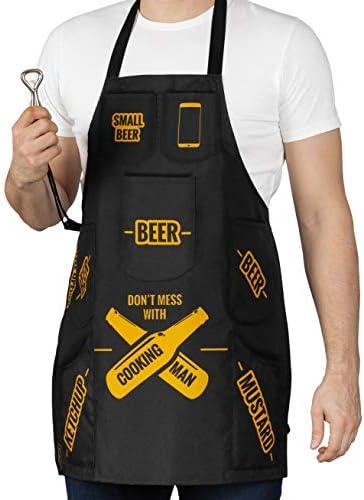 Froster Kookschort voor mannen met zakken voor bier ketchup mosterd voor grill barbecue of koken flesopener inbegrepen grappig cadeau voor echte mannen waterdicht
