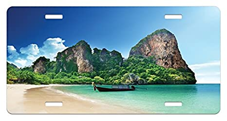 Amazon Com Ambesonne Tropical License Plate Railay Beach