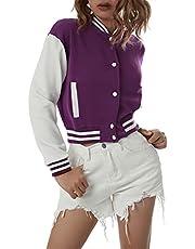 Vrouwen Lange Mouw Honkbal Jassen Letter Print Kleur Blok Zip Up Oversized Retro Jas Hip-hop Uniform Bovenkleding