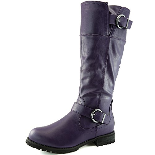 DailyShoes Women's Round Toe Ankle Double Buckle Military Combat Boots, Combat-Zero Purple PU 8.5 - Purple Tall Shoes