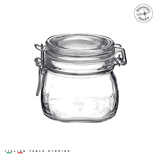 17.5 Ounce Glass Storage Jars: Airtight Hinged Lid With Leak Proof Gasket, Wide Mouth Food Container - For Zero Waste Air Tight Preserving Jam, Spices, Coffee, Sugar & Herbs ()