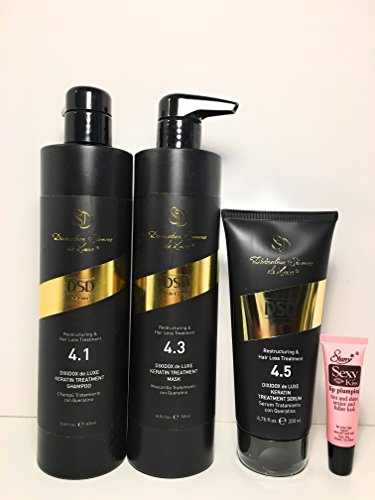 Divination Simone De Luxe Restructuring Hair Loss Treatment 4.1 Keratin Shampoo 16.91 Oz, 4.3 Keratin Mask 16.91 Oz and 4.5 Serum 6.76 Oz ''Free Starry Sexy Kiss Lip Pumpling 10 Ml'' by Simone
