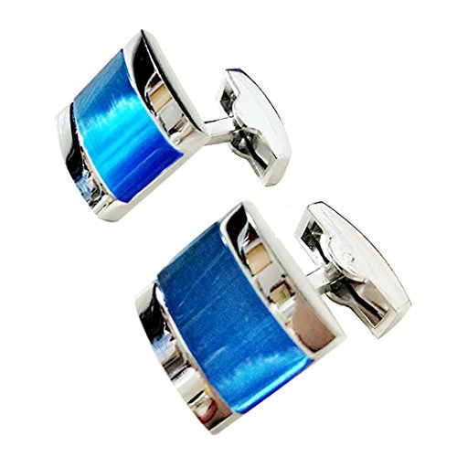 (Covink Swarovski Crystal Cufflinks Blue Opal Cufflinks Shirt Sleeve Button Cat's Eye Elegant Style )