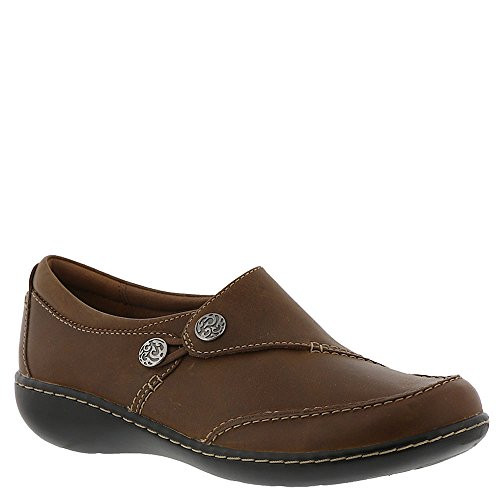 CLARKS Women's Ashland Lane Q Loafer, Dark Tan Leather, 070 W US by CLARKS