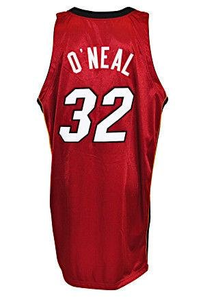 Heat Shaquille O'Neal Game Used 2004-05 Size 60 Red Road Reebok Jersey w/ LOA - Unsigned Game Used NBA Jerseys (Nba Reebok Red Authentic Jersey)