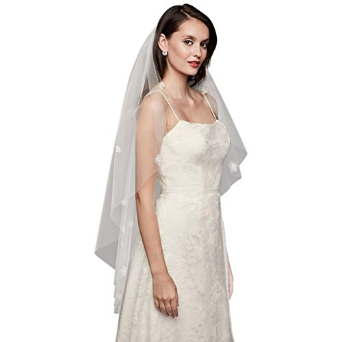 3D Floral Elbow-Length Veil Style V706, Ivory by David's Bridal