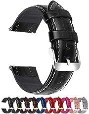 Fullmosa 18mm 20mm 22mm 24mm Bracelet Montre Cuir Véritable, 7 Couleurs Bamboo Bracelet de Montre Dégagement Rapide avec Fermoir en Métal Inoxydable pour Homme/Femme 22mm Noir