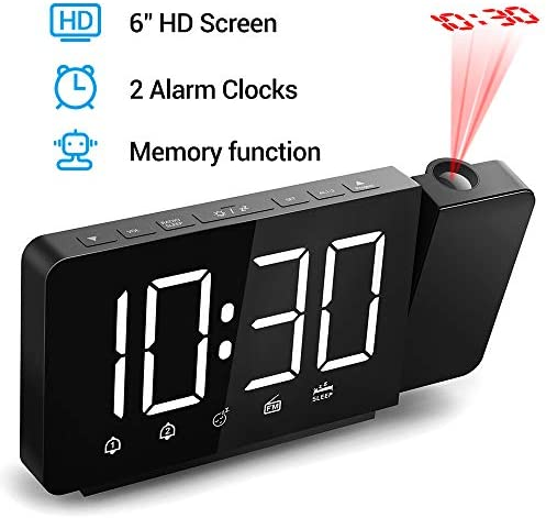 Quntis 360 Projection Alarm Clock 6 Large Digital LED Display Dimmer Projection Clock on Wall Ceiling with AM FM Radio Sleep Timer, Dual Alarms, USB Charger, Battery Backup Black