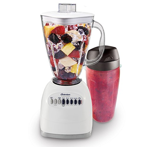 Oster 006640-BG3-000 Simple Blend 100 10 Speed Blender with Blend and Go Cup, White (Sauce Cups Metal)