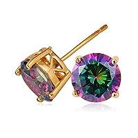 CZ Earring 18K Gold Plated Rainbow Fire Shiny Mystic Topaz 2.75 Carat Swiss Cubic Zirconia Stud Earrings
