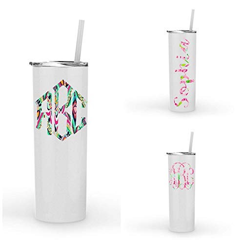 (Monogrammed Stainless Steel Tumbler w/Lilly Inspired Vinyl Decal / 20oz Skinny White Powder Coated Tumbler/Personalized with Name, Word or Monogram)