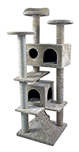 "Hiding Cat Tree 50"" Tree Tower Condo Furniture Scratch Post Kitty Pet House Play Furniture Sisal Pole and Stairs (Beige)"