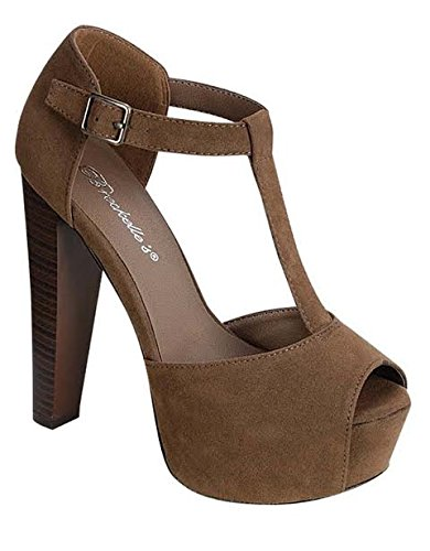 Breckelles Women's BRINA-01W Open Toe High Heel T-Strap Platform Sandals,7.5 B(M) US,Taupe-01w