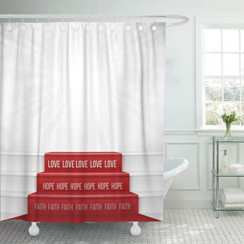 Ashleyallen shower curtain Faith Hope Love From Bible Quotation Represent By Steps Showing the Greatest of All Is Negative Space Can shower curtain 72 x 72 Inches shower curtain with plastic Hooks by Ashleyallen