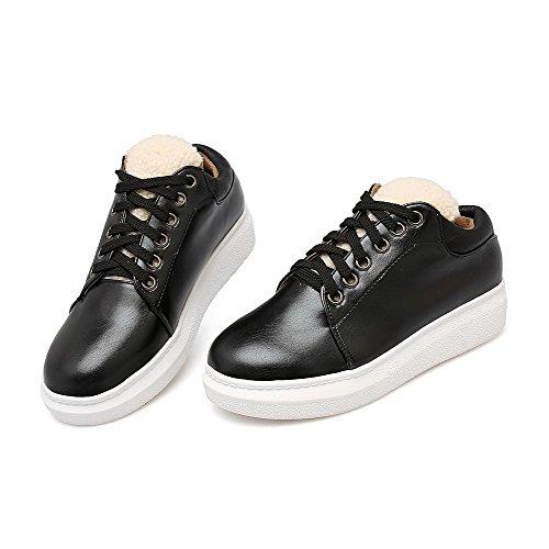 VogueZone009 Women's Round Closed Toe Blend Materials Assorted Color Zipper Pumps-Shoes Black OBtr2ZJsmx
