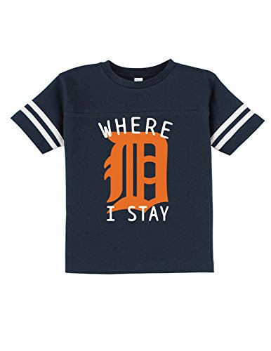 Sod Uniforms Big D Detroit Where I Stay Funny Toddler Football Tee Navy -