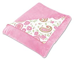 Trend Lab Receiving Blanket in Paisley Park Print Front/Pink Velour Back