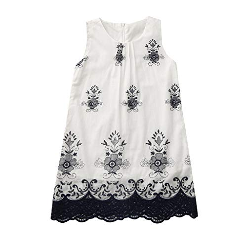 Kids Clothes Kids Dresses 2Y-6Y Children's Sleeveless Embroidered Embroidered Lace Trim Dress Children's Day Gift Navy ()