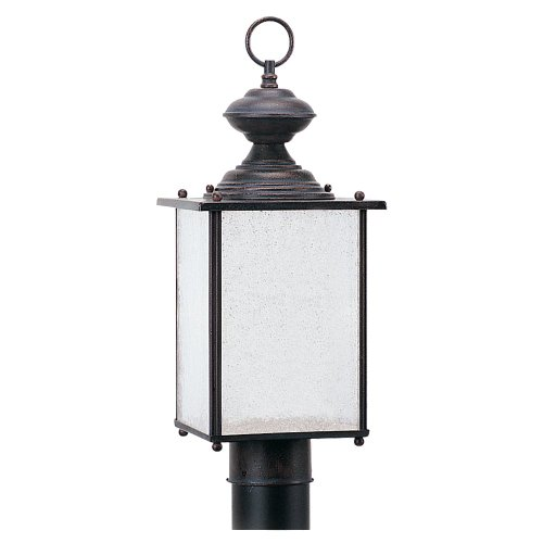 Sea Gull Lighting 89386BL-08 Jamestowne - One Light Outdoor Wall Sconce, Textured Rust Patina Finish with Frosted Seeded - Rust Post Textured Patina Lights