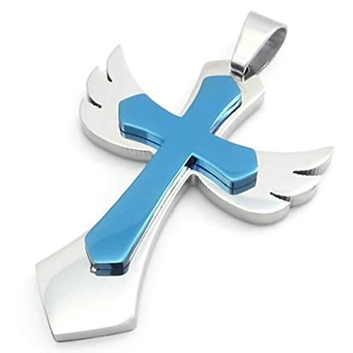 Black Angel Wings Costume Australia (Bishilin Stainless Steel Silver Blue Angel Wing Cross Unisex's Pendant Necklaces 24 Inch for Mens with Free Engraved Service)