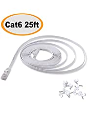 Cat 6 Ethernet Cable 25 ft White Flat - Solid Internet Network Lan patch cord – Cat6 High Speed Computer wire With clips & Rj45 Connectors for Router, modem, PS, Xbox– faster than Cat5e/Cat5 - 25 feet