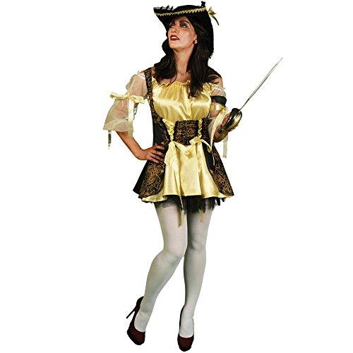Morphsuits Women's Morphcostume Co Captain Nauti Lass Pirate Female Costume, Gold/Black, Large - Morphsuit Gold